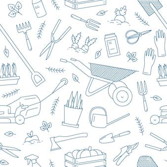 Einfarbiges nahtloses muster mit gartenwerkzeugen oder ausrüstung für den pflanzenanbau, gezeichnet mit höhenlinien drawn