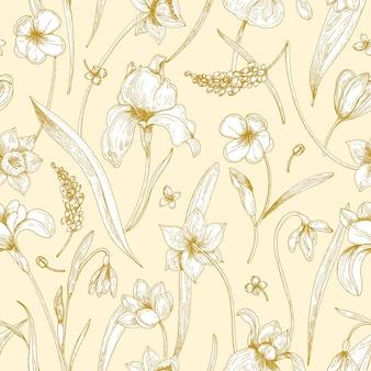 Einfarbiges nahtloses muster mit zarten blühenden blumen des frühlings, die mit umrissen auf gelbem hintergrund gezeichnet werden.