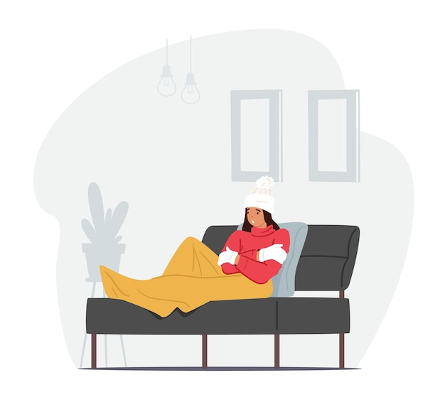 Einfrierender weiblicher charakter, eingehüllt in warmes plaid, winterkleidung, hut und fäustlinge, der auf einem sofa sitzt und an niedrigem grad leidet