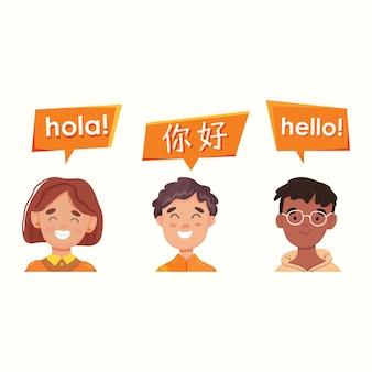 Einführung in verschiedene sprachen. englisch, spanisch und chinesisch. vektor-illustration