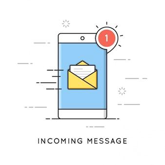 Eingehende e-mail-benachrichtigung, neue nachricht. flache linie kunststil. bearbeitbarer strich.