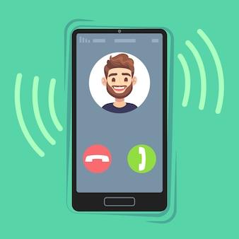 Eingehender anruf auf dem handy. freund foto auf klingelnden telefonbildschirm