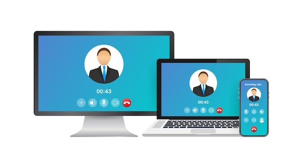 Eingehender videoanruf auf laptop. laptop mit eingehendem anruf, mannprofilbild und ablehnungsschaltflächen akzeptieren