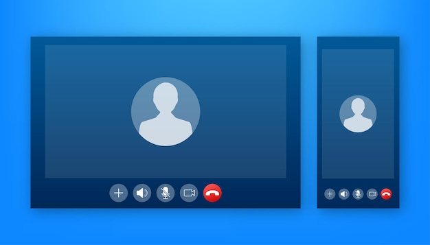 Eingehender videoanruf auf laptop. laptop mit eingehendem anruf, profilbild des mannes und schaltflächen zum akzeptieren der ablehnung. vektorgrafik auf lager.