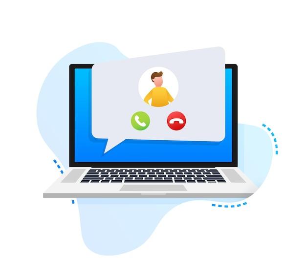 Eingehender videoanruf auf laptop laptop mit eingehendem anruf
