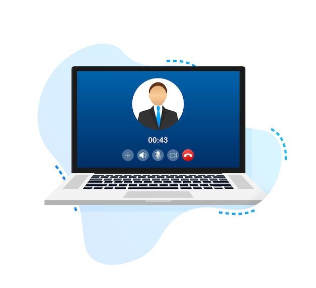 Eingehender videoanruf auf laptop laptop mit profilbild des eingehenden anrufers