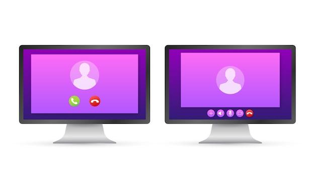 Eingehender videoanruf auf laptop