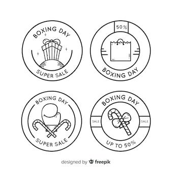 Eingekreiste einfache boxentages-badge-kollektion