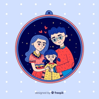 Eingekreiste hand gezeichnetes familienportrait
