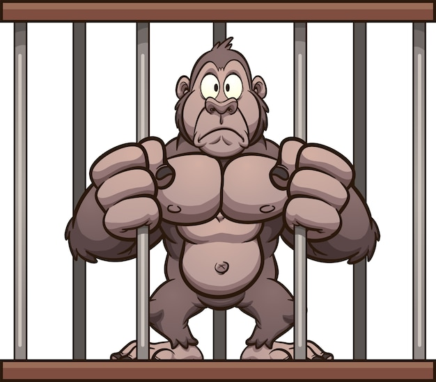 Eingesperrter gorilla