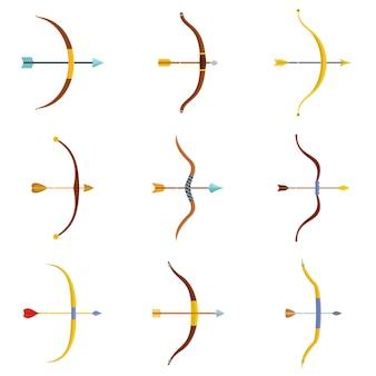 Eingestellter vektor der bogenpfeil-waffenikonen lokalisiert