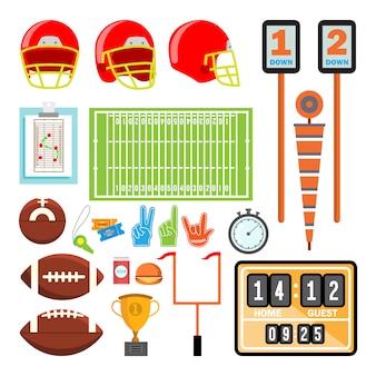 Eingestellter vektor des amerikanischen fußballs ikonen. american football zubehör. helm, ball, pokal, feld