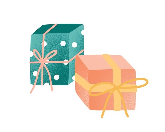 Eingewickelt präsentiert flache vektorillustration. geschenkboxen mit bändern auf weißem hintergrund verziert. verpacktes festliches geburtstagspaket. traditionelles feiertagsfeiersymbol.