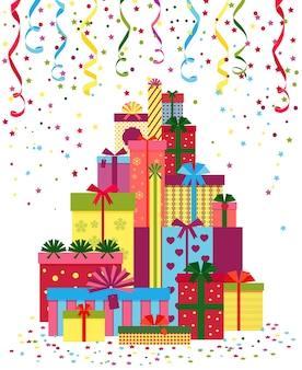 Eingewickelte geschenke oder geschenkboxen stapeln sich. stapel von geschenken, eingewickelt in buntes papier und gebunden mit bändern.
