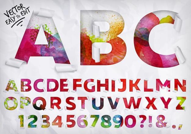 Eingewickeltes alphabet aquarell