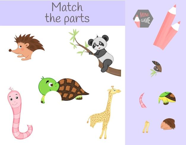 Einhaltung des lernspiels für kinder. passen sie tierische teile an. finde die fehlenden teile.
