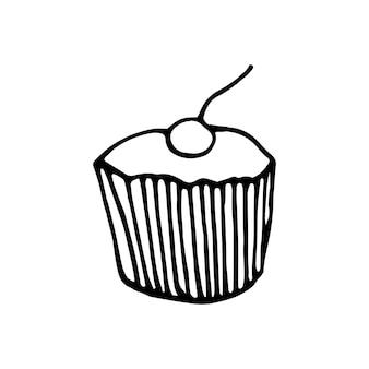 Einhand gezeichneter kuchen. doodle-vektor-illustration.