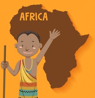 Einheimische afrikanische stämme mit karte auf dem hintergrund