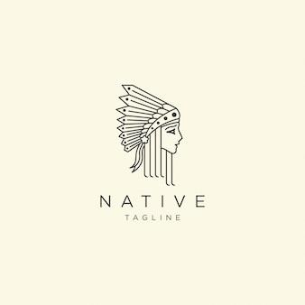 Einheimische frauen mit linie stil logo symbol design vorlage illustration