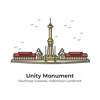 Einheit monument indonesian landmark cute line illustration