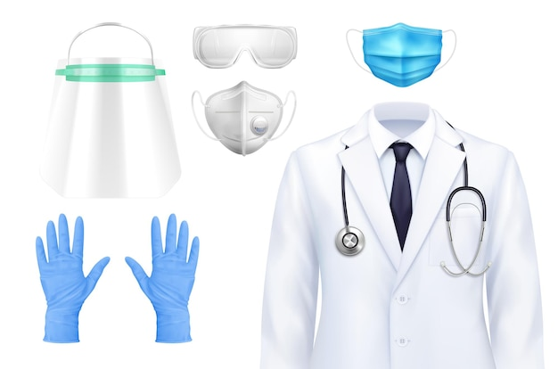 Einheitlicher realistischer satz des isolierten selbstschutzes des doktors von isolierten symbolen von anzugmasken und handschuhen mit schutzbrille