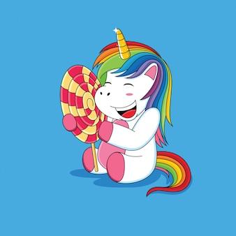 Einhörner, die mit lollipop cartoon glücklich sind