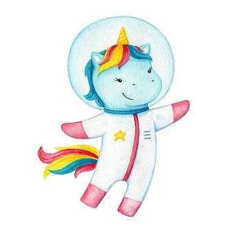 Einhorn-astronautencharakter. glückliches fliegendes pony, das einen raumanzug trägt. fantasiepferd auf kosmischem abenteuer.