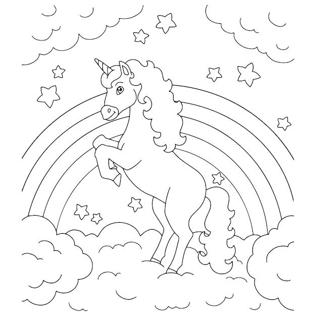 Einhorn auf einer wolke malbuchseite für kinder