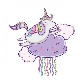 Einhorn auf niedlichen Cartoons der Wolken