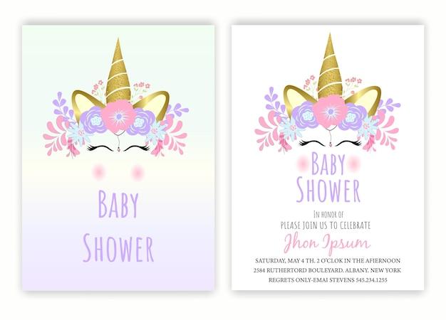 Einhorn blumen einhorn dekor karte baby-dusche.