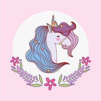 Einhorn blumen emblem
