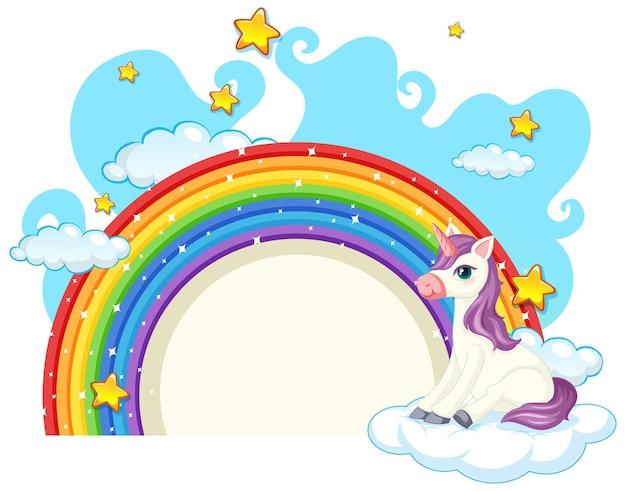 Einhorn-cartoon-figur mit regenbogen isoliert auf weiß