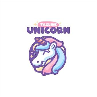 Einhorn cartoon logo für ihr unternehmen