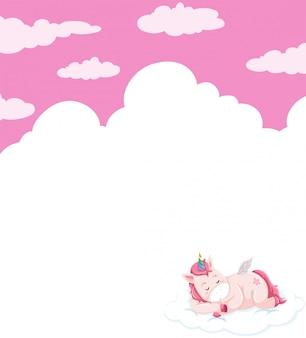 Einhorn, das auf himmelschablone schläft