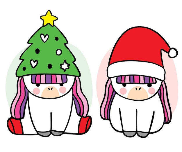 Einhorn der karikatur nettes weihnachten und des guten rutsch ins neue jahr im sankt-hutvektor
