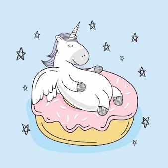 Einhorn doodle donut cartoon