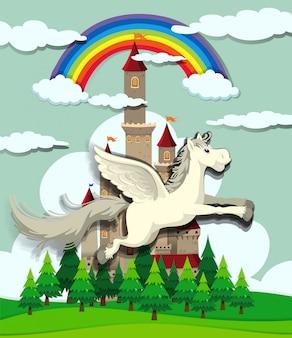 Einhorn fliegt über das Schloss