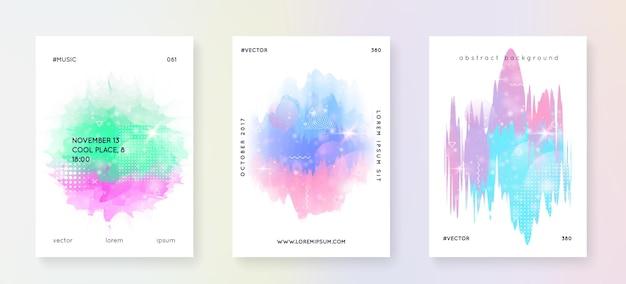 Einhorn-flyer. kawaii regenbogenhologramm. prinzessin holographischer farbverlauf. fantasie-set. kreatives universum-banner. einhorn-flyer mit magischen funkeln, sternen und unschärfen für mädchenpartyeinladung.