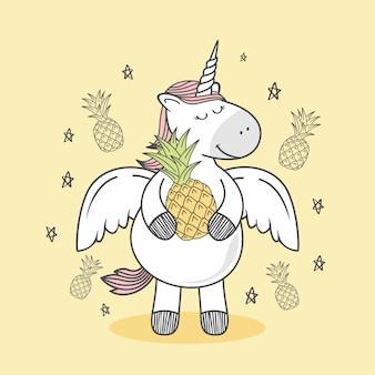 Einhorn-gekritzel-ananas-karikatur
