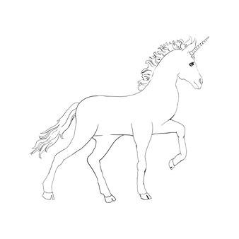 Einhorn, handgezeichnete vektorleinenillustration für logo