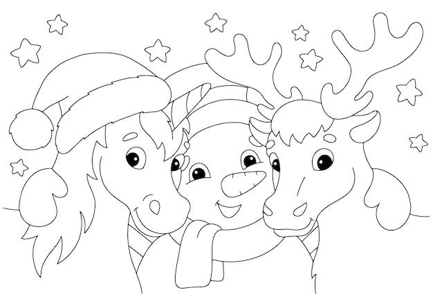 Einhorn hirsch und schneemann zu weihnachten malbuchseite für kinder