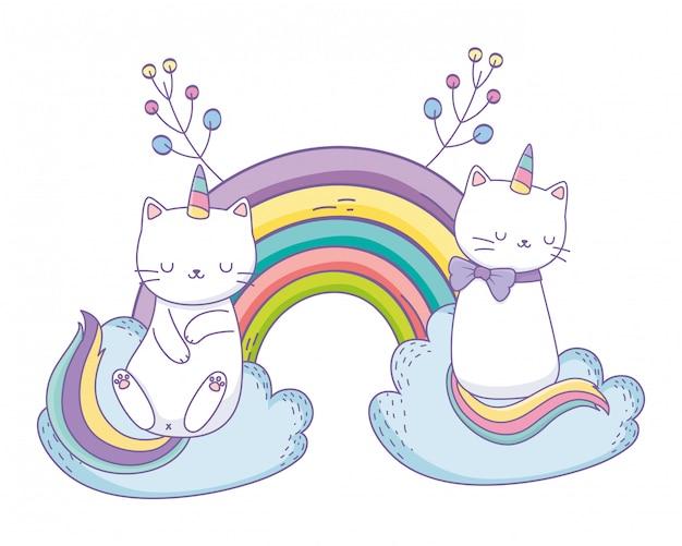 Einhorn katze cartoon paar