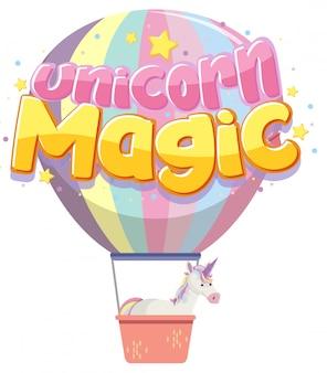 Einhorn magisches logo in pastellfarbe mit niedlichem ballon
