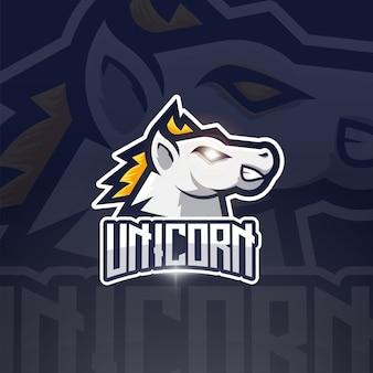 Einhorn maskottchen esport logo design