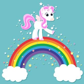 Einhorn mit flügeln auf einem regenbogen