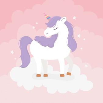 Einhorn mit lila haaren auf wolken fantasy magie traum niedlichen cartoon rosa hintergrund illustration