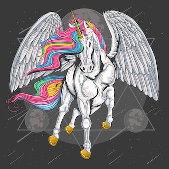 Einhorn-pferd volle farbe mit flügeln fliegen auf den raum-mond