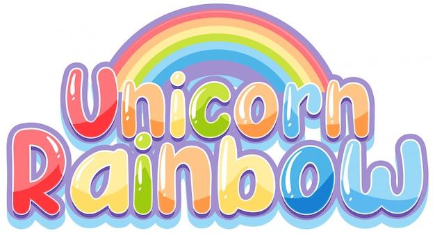 Einhorn regenbogen logo in pastellfarbe mit niedlichen regenbogen