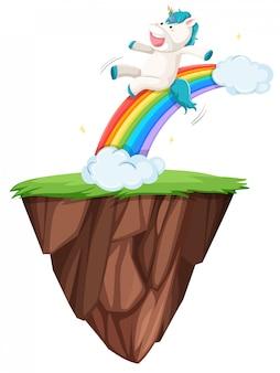 Einhorn schieben den regenbogen