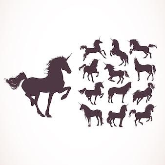 Einhorn silhouetten sammlung